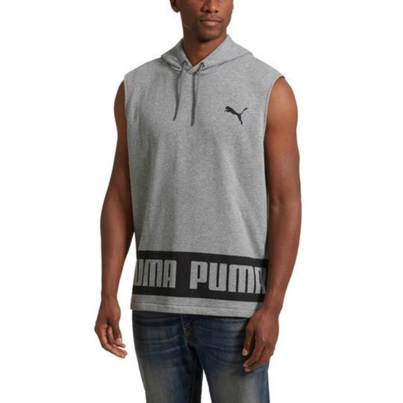 97f9a44fb720c Puma Men s Rebel Sleeveless HD TR Gray Hoodie